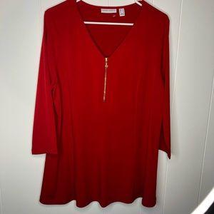 NWOT Susan Graver liquid knit red top. Size Large.